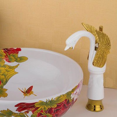 AWXJX European Style Retro Style Copper Gold Hot and Cold Bath Wash Your Face Mixer Tap by AWXJX Sink faucet