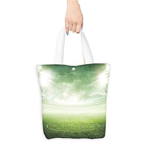 (Casual Shopping Tote Bag Illum ed Stadium under Spot Lights Football Arena Activity Grass Reusable 100% Eco Friendly W11 x H11 x D3 INCH)