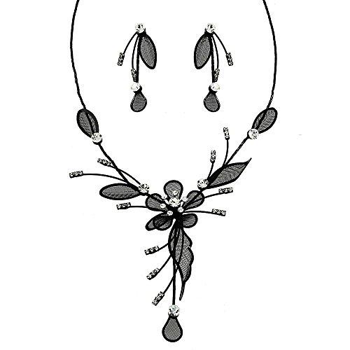 - Falari Party Bridal Elegant Necklace Earring Set For All Ages Black
