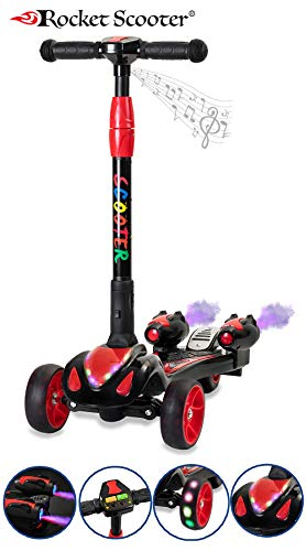 The Original Rocket Scooter, Kids Kick Scooter, Music, 3 Colors Lighted Wheels, Spray Lights, Sturdy Steering Handlebar, Stable Board, Adjustable Height & Foldable Design (Black)