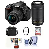 Nikon D5600 DSLR Camera Kit w/AFP DX 18-55mm f/3.5-5.6G VR & AFP DX 70-300/4.5-6.3G Lenses - Bundle With camera Case, 16GB SDHC Card, Cleaning Kit, 55mm UV Filter, Mac Software Package,