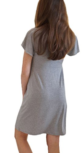 V Tops Casual Moda Manica Lunga Quotidiani L'allattamento Corta Al Mini Vestito Cucitura Donna Plissettate Scollo Pizzo Estivo Camicie Seno 7wRntq56