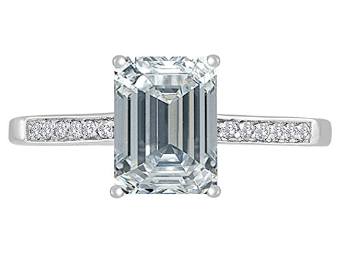 Star K Genuine White Topaz and Diamond Solitaire Engagement Ring 14kt Size 6