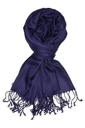 Achillea Large Soft Silky Pashmina Shawl Wrap Scarf in Solid Colors - Dress Indigo Purple Color