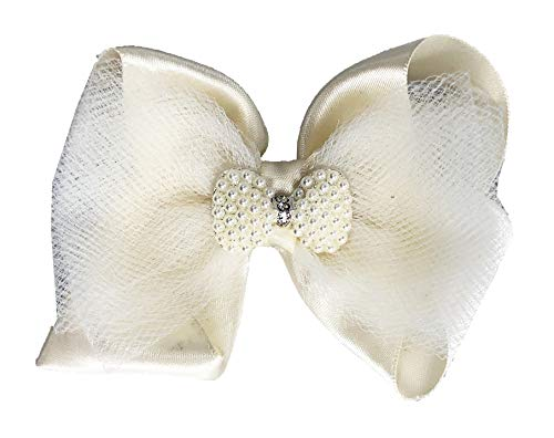 (Pearl & Rhinestone Hair Bow with Satin and Tulle, Clip for Girls, Flower Girl, Baptism, Pictures Ivory)