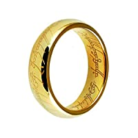 Three Keys Jewelry Lord Of The Rings Style Tungsten Carbide Gold Ring Lord Laser Etched Band Ring Size 7-13