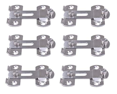 Liyafy Angle Door Latch Hasp Bending Latch Buckle Bolt Sliding Lock Barrel Bolt with Screws for Doors and Windows 6Pcs