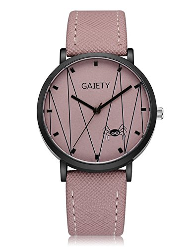 Spider Pattern Watches for Women,COOKI Unique Analog Lady Watches Female watches on Sale Casual Wrist Watches for Women Comfortable PU Leather Watch-A149 (pink)