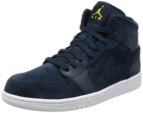 Jordan Nike Men's Air 1 Mid Armory Navy/ElectroLime White Basketball Shoe 12 Men US Review