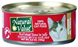 Natural Value Cat Food, Red Meat Tuna in Jelly Topped with Shrimp, 5.5-Ounce Cans (Pack of 24), My Pet Supplies