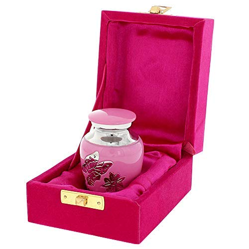 Pink Butterfly Small Keepsake Urn for Human Ashes - Qnty 1 - Find Comfort in These Difficult Times with These Warm and Loving High Quality Mini Cremation Urns - Includes Velvet Urn Bag
