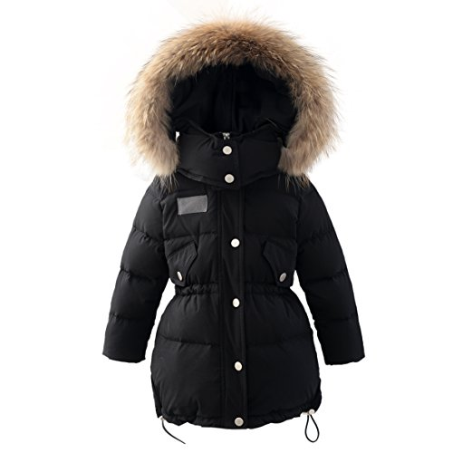 Girls Coat Hooded (Hiheart Girls Fur Hooded Puffer Down Jacket Heavy Weight Down Coat Thicken Outerwear Black 4T)