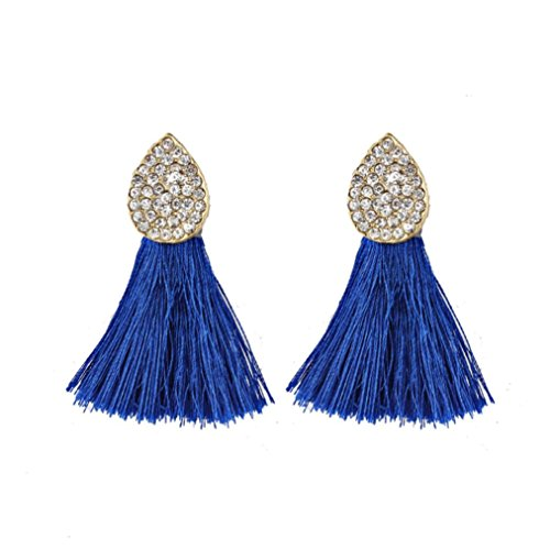 - 2018 Hot Sale! Paymenow Women's Stud Earrings Lovely Cute Jewelry Gifts Charms Oval Crystal Tassel Drop Earrings Jewelry Accessory (Blue)