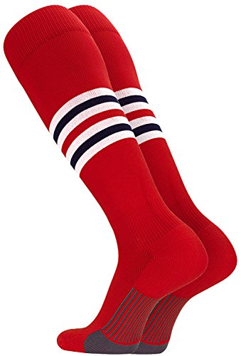 TCK Performance Baseball/Softball Socks (Scarlet/White/Navy, Medium)