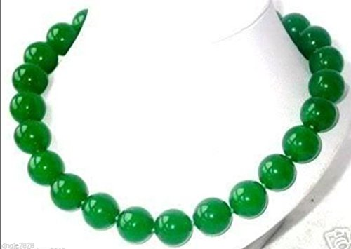 Generic  charming_Natural_Green_Jade_12mm_Round_ Beads Necklace _20inch