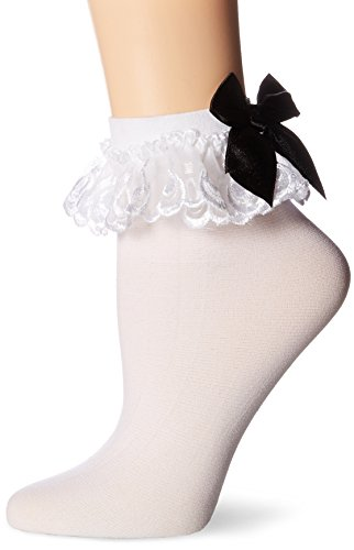 Leg Avenue Women's Stocking Bow and Lace Ruffle, White/Black, One Size (Alternative Lingerie compare prices)