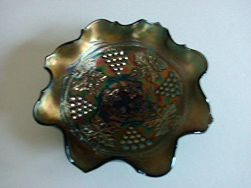 Fenton Carnival Glass Blue/Gold ribbon bowl Colbalt Blue