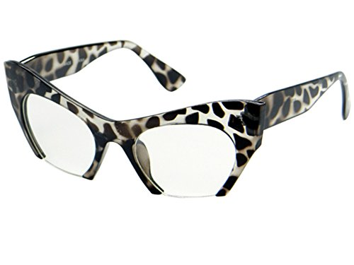 CY SUN Cut Off Semi-Rimless Clear Lenses Cat Eye Style Eye SUN Glasses Leopard Frame (Leopard, - Semi Rimless Frames