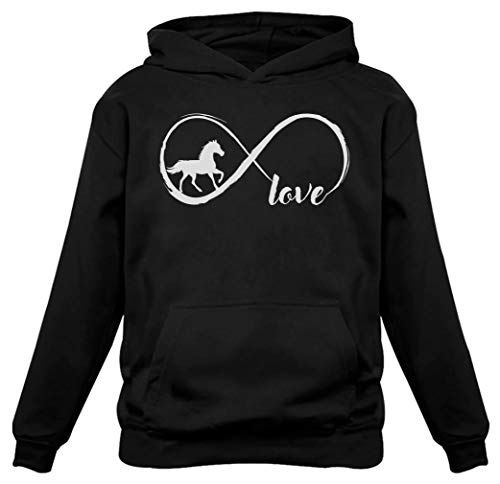 Horses Youth Sweatshirt - Gift for Horse Lover Infinite Love Women Horse Hoodie Medium Black
