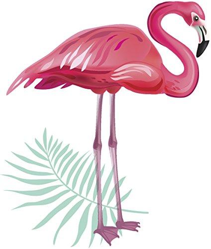 Beautiful Pink Flamingo with Leaf Art Vinyl Sticker (8