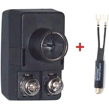 Male F Type Push On Balun with Matching Transformer 75 / 300 OHM TV UHF VHF FM