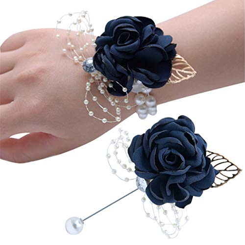 Wedding Wrist Corsage Brooch Set Wrist Corsage and Boutonniere Set Prom,Wedding Prom Boutonniere Graduation Party Boutonniere Suit Dress Accessories (Navy Blue)