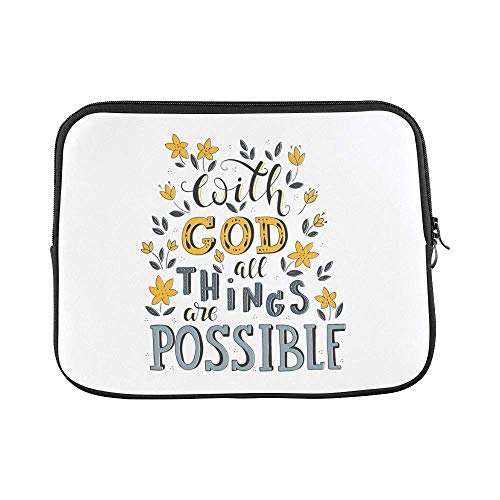 InterestPrint Christian Bible Verse with God All Things are Possible 13 13.3 Inch Lightweight Notebook Sleeve Bag