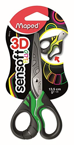 Maped Sensoft Fluoescent Scissors with Flexible Asymmetrical Handles 5 Inch, Assorted Colors (484310)