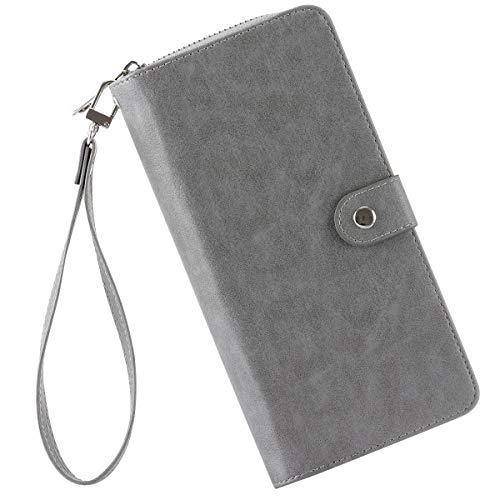 (Women Leather Wallet Large Capacity Zip Around Clutch Card Holder Organizer Long Travel Bohemian Ladies Purse Wrist Strap)