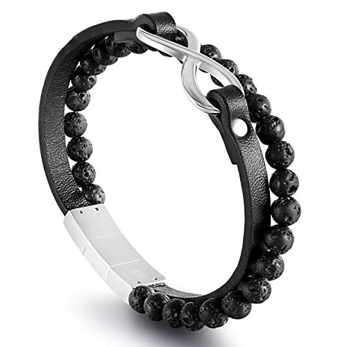 QLEESI Unisex Leather Bracelets with Lava Rock Bead, Stainless Steel Angel Wing Cowhide Punk Wristband Cuff 6.9-8Inches Plus Extra Magnetic Clasp Gifts for Boys Girls Men Women (B: Infinity) ()