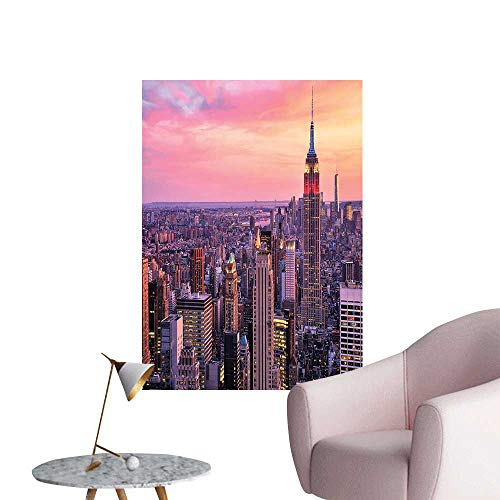- Wall Decals New York City Midtown with Empire State Building at Sunset Business Center Rooftop Environmental Protection Vinyl,16