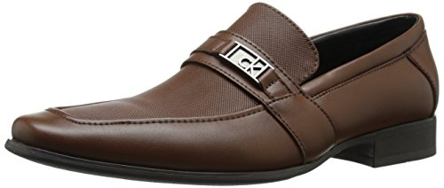 Calvin Klein Men's Bartley Diamond Leather Loafer, British Tan, 11 M US by Calvin Klein