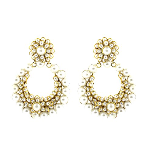 Be You Stunning White Color Pearl Pachi Work Rhodium Plated Brass Chand Bali Earring for Women (Brass Plated Chand)