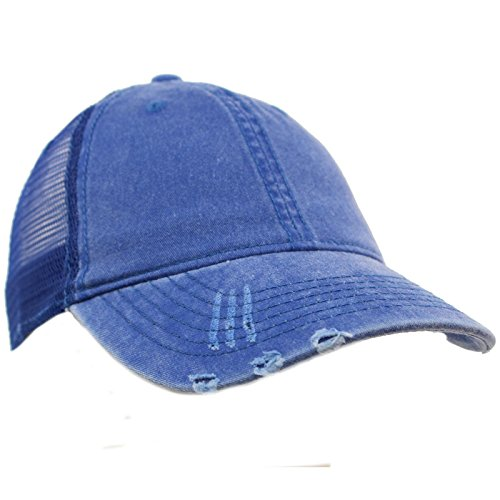 Unisex Distressed Low Profile Trucker Mesh Summer Baseball Sun Cap (Distressed Mesh Hat)