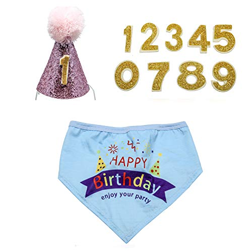 KEVIN-KW Dog Birthday Boy Bandana Scarfs-Crown Dog Birthday Hat with 0-9 Figures Charms Grooming Accessories Pack of 1 and Happy Birthday Award Badge (Pink hat, Blue Bandana)