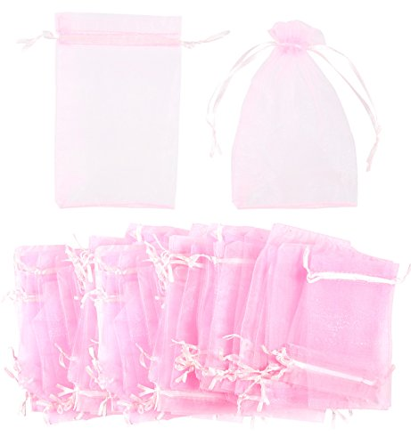 Jewelry Drawstring Pouches - 150-Piece Organza Gift Bags - Organza Sheer Drawstring Mesh Jewelry Wrapping Pouch for Wedding Favors, Party Gift, Arts and Crafts, Sample Packing - Pink, 3.7 x (Jewelry Organza Drawstring Gift Bags)