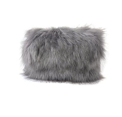 Runway Grey Designer Soft Feather Bag Foldover Fur Chain Fluffy Faux Clutch Purse SzqfFS