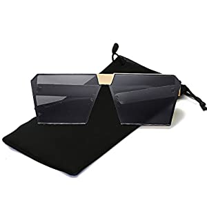 Mens Womens Oversized Square Sunglasses Metal Frame Flat Top Mirrored Sunglasses (Gold, Grey)