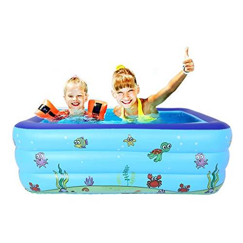 (Purpleflower Blue Kiddie Pool Portable Pools for Kids,Inflatable Bathtub Air Pump Rectangular Swimming Pool Folding Durable (Blue) (Blue, L))