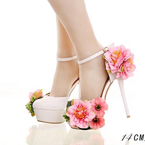 XIE Fleurs de papillon plate-forme imperméable à talons hauts chaussures de mariée fine talon bracelet robe creuse mariage banquet chaussures sandales 35 cjsUxQo