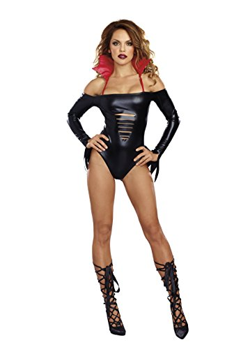 Sexy Vampire Costumes For Women (Dreamgirl Women's Bloody Fabulous Bodysuit, Black, S/M)