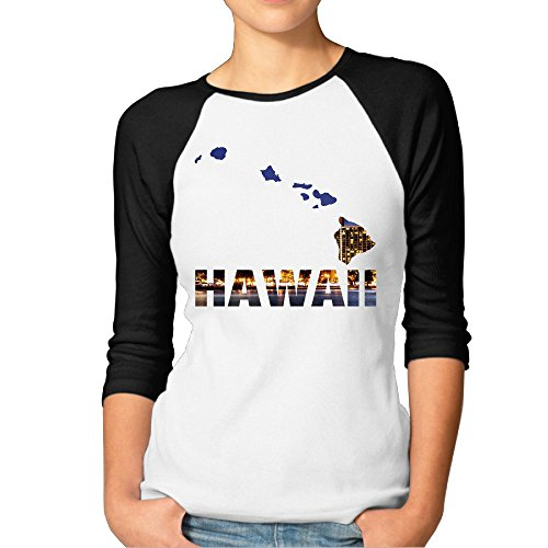 Price comparison product image Women's View Of Hawaii - The Aloha State 3 / 4 Sleeve Raglan T Shirt L Black