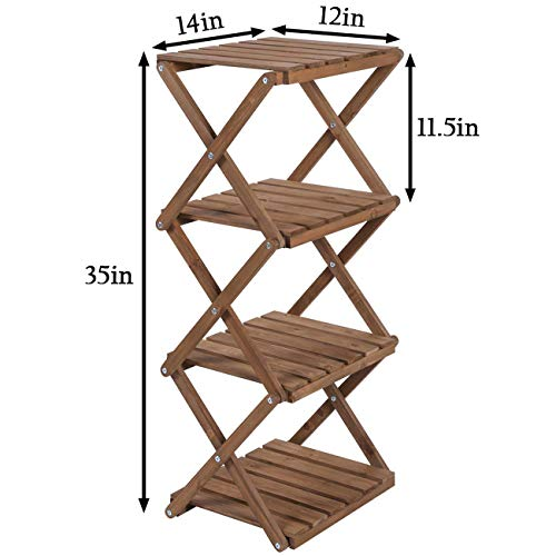 Sunnyglade 4-Tier Foldable Flower Rack Plant Stand Wood Shelf Multipurpose Utility Storage Rack Books Picture Frames Shelves for Yard Garden Patio Balcony Bedroom by Sunnyglade (Image #4)