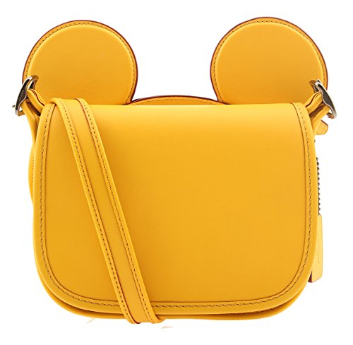 Coach, Mickey Patricia Saddle in Glove Calf Leather with Mickey Ears Crossbody Shoulder Bag, Banana, Black Antique Nickel