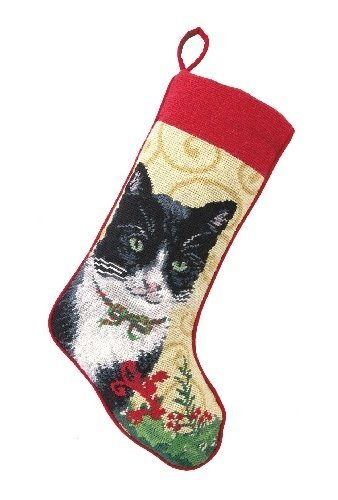Black and White Cat / Kitten with Holly Christmas Stocking, Wool Needlepoint, 11 Inch X 18 Inch by PHI
