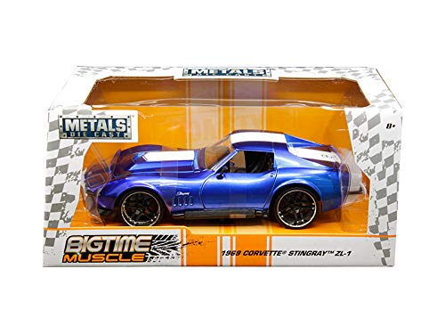 (Jada 1969 Chevrolet Corvette Stingray Zl-21 Blue with White Stripe Bigtime Muscle 1/24 Die-cast Model Car 30532)