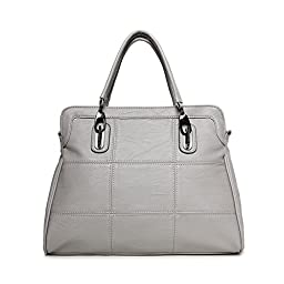 Hoxis Square Quilt Faux Leather Shell Top Handle Shoulder Handbag Womens Satchel (Grey)