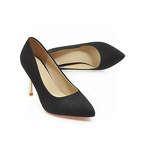 Mee Shoes Damen Stiletto Pailletten spitz Pumps Schwarz