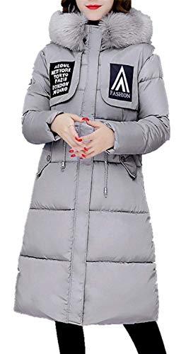 Manica Abbigliamento Giacca Invernali Lunga Giovane Donna Colori Tasche Anteriori Cappuccio Cerniera Grau Coulisse Solidi Comodo Moda Vento Piumini Con Cappotti Elegante Pz7F7q