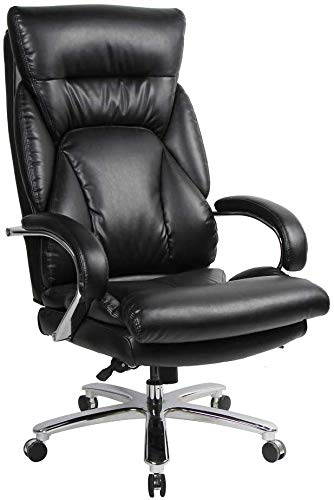 Big and Tall Executive Office Chair 500lbs High Back Home Office Chair with Double Padded Headrest Seat Heavy Duty Office Chair with Tilt Function (Black) by ORVEAY